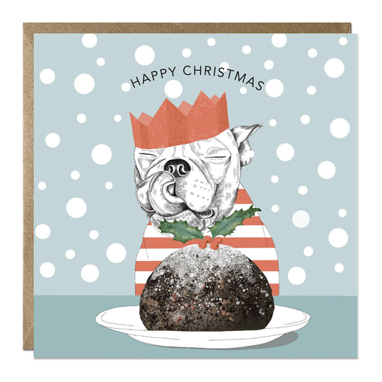'Christmas Pudding' Christmas card with Staffy
