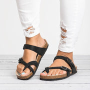 Flat Leather Buckle Round Toe Sandals