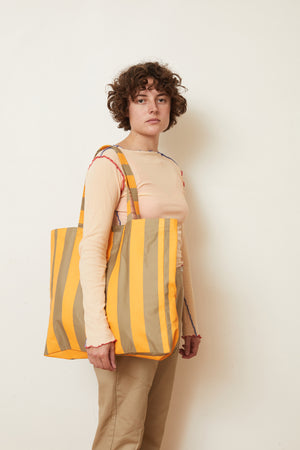 Stripe Khaki Tote Bag