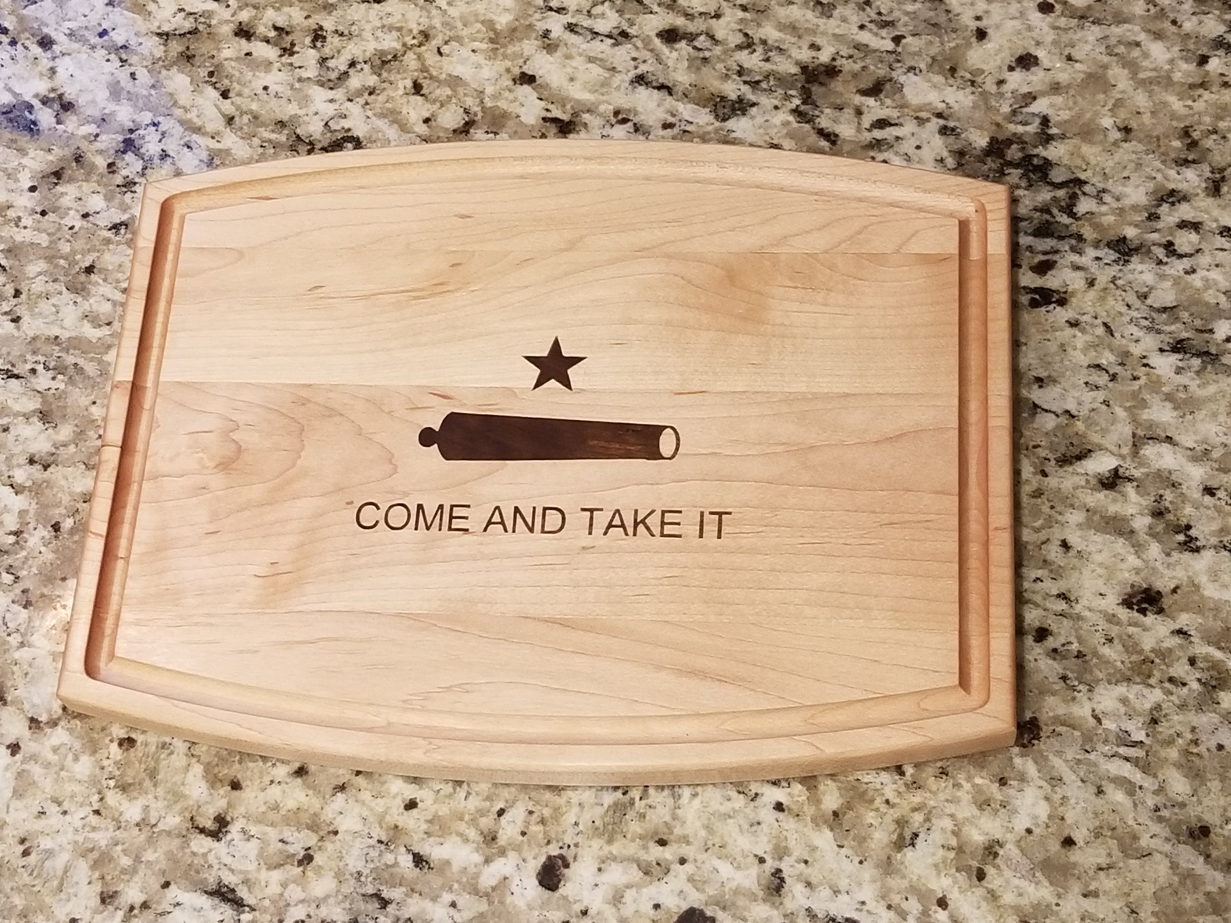 Come And Take It maple cutting board