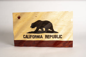 Waving Wood Flag Jewelry Box - California