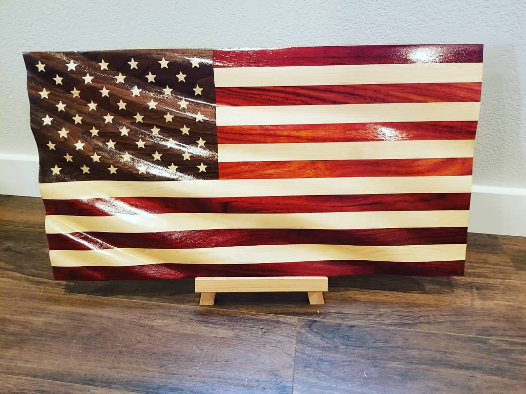 Waving Wood Flag Box - United States Wall Flag