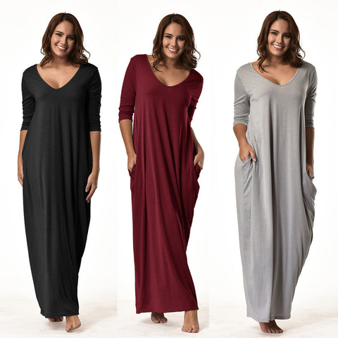 3/4 Sleeve V-Neck Long Loose Dress - S-2XL