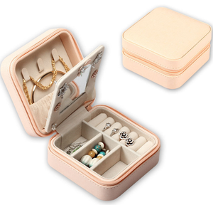Travel jewelry box, Portable Travel Jewelry Case Earring Holder Necklace Organizer Jewelry Case PU Leather Jewelry Organizer with Zipper