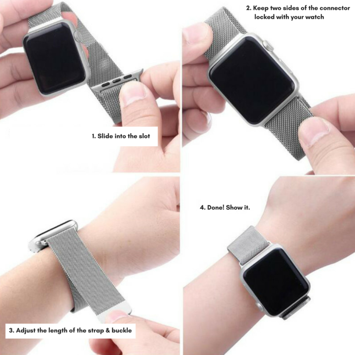 Watch Band Stainless Steel Magnet Closure Clasp for Apple Watch Series 3/2/1