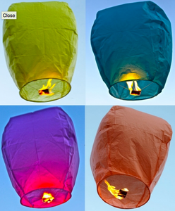 Premium Assorted Color Sky Lanterns - 10 Pack