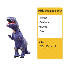 Load image into Gallery viewer, Adult Kids Inflatable Dinosaur Costume T REX women Men Costumes dinosaur Alien Halloween Party Fancy Dress suit Carnival Cosplay