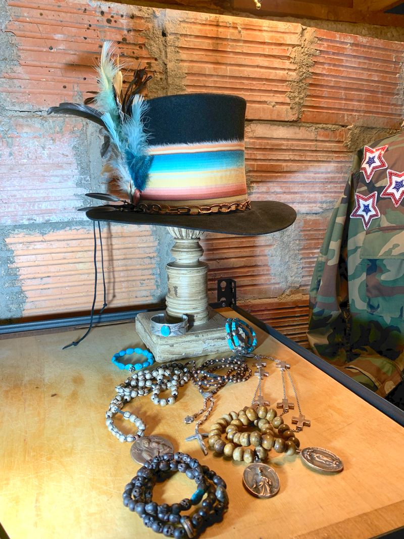 Beautiful color to kick up this top hat! Wearable art! Dusty's Originals top hat and Love Tokens jewelry!