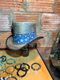 Distressed with blue metallic paint.  This Lucky Stars Top Hat will step up your fashion game!