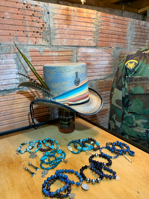The serape hat band is the perfect touch to the perfect top hat.
