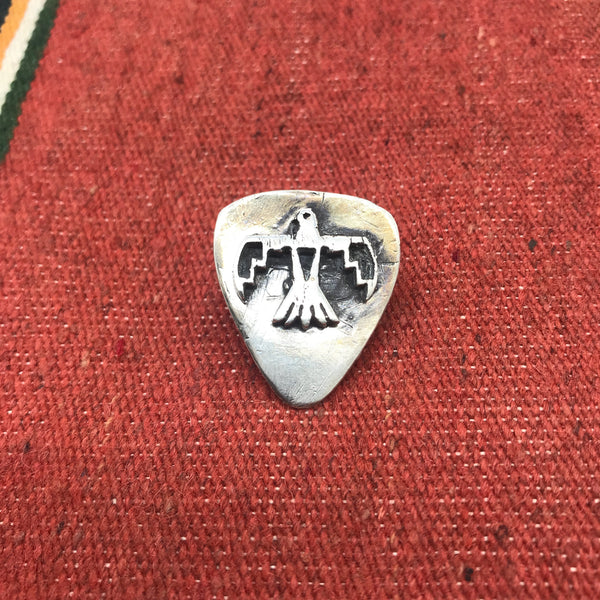 Handmade Sterling Silver Phoenix Rising Guitar Pick Hat Pin/Lapel Pin