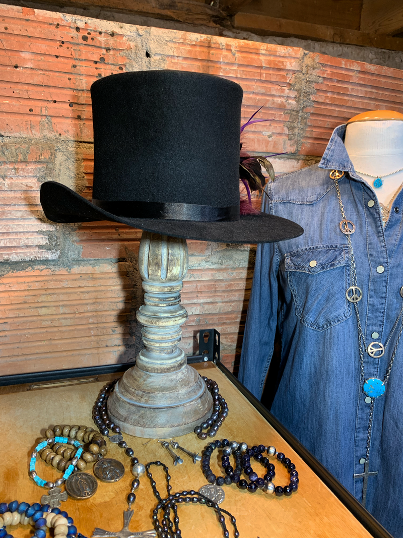 Classic lines with a twist on the top hat! Handcrafted in the studio in Sturgis, South Dakota.
