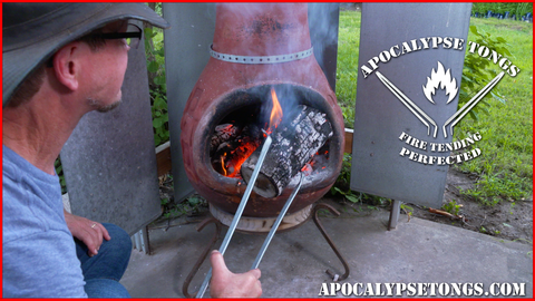 Apocalypse Tongs Fireplace Tool, Camping Gear, Fire Tongs, Grilling, Hunting, Dutch Oven