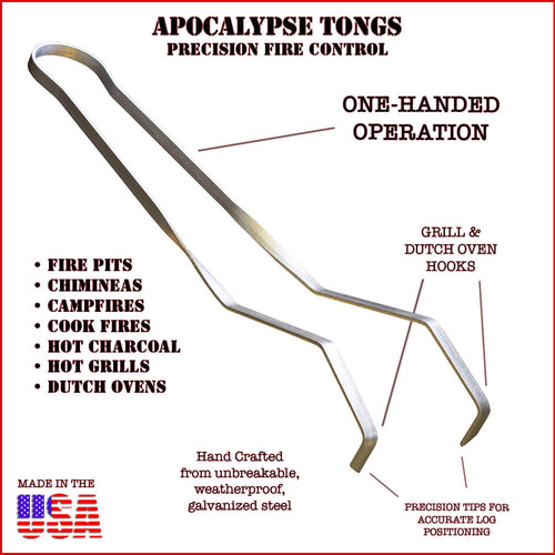 Apocalypse Tongs One-Handed Fire Tongs 3.0, Fire Pit Tongs, Campfire Tongs, Charcoal Tongs, Fireplace Tongs, Dutch Oven Tools, Outdoor Heavy Duty