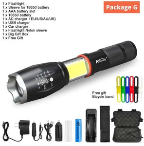 Multi function Led Flashlight - 8000 Lumens-New COB Design