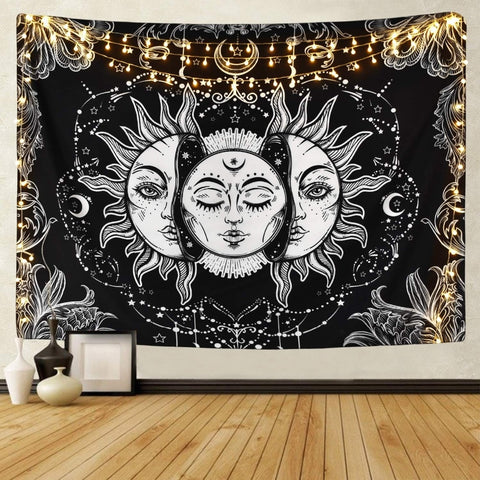 White Black Sun Moon Tapestry - ixDecor