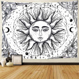 White Black Sun Moon Tapestry - Oddites