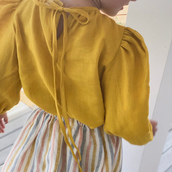 The Long Sleeve Hattie Blouse - Mustard