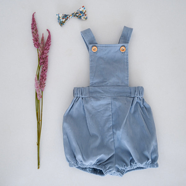 The Henry Romper - Sky Blue Organic Cotton Corduroy