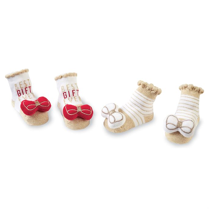 Red Bow Rattle Toe Socks