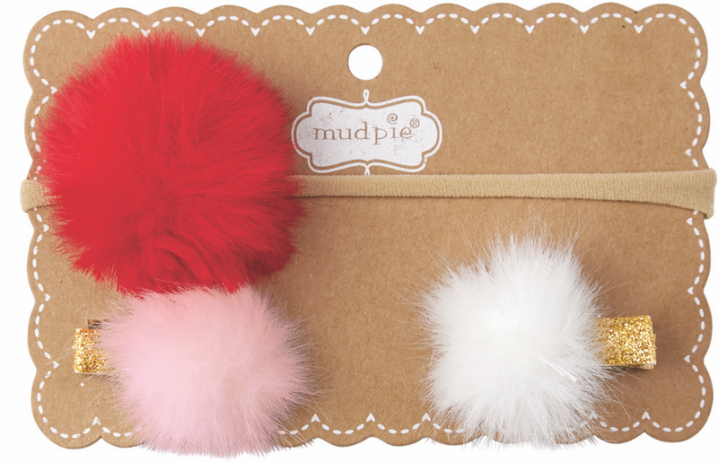Holiday Puff Headband & Clips
