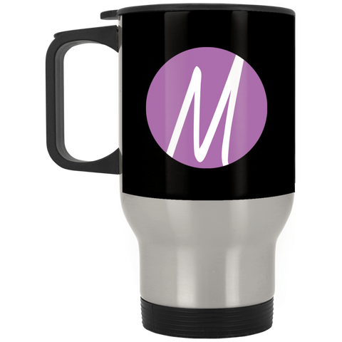 MM (icon) Silver Stainless Travel Mug Drinkware- Warrior Design Co. | Quality Affordable Branding Solutions