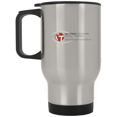 LVCVT Silver Stainless Travel Mug Drinkware- Warrior Design Co. | Quality Affordable Branding Solutions
