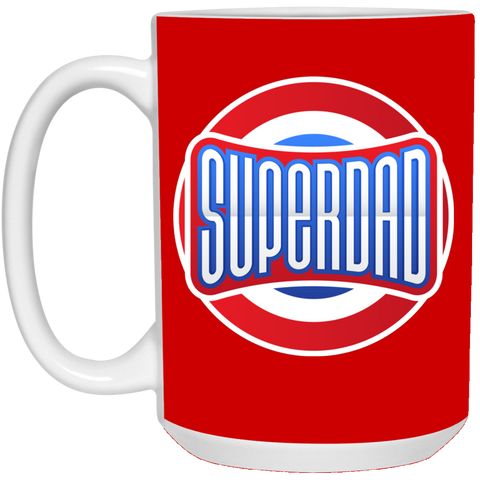 Superdad 15 oz. White Mug Drinkware- Warrior Design Co. | Quality Affordable Branding Solutions