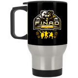 FINAO Silver Stainless Travel Mug Drinkware- Warrior Design Co. | Quality Affordable Branding Solutions