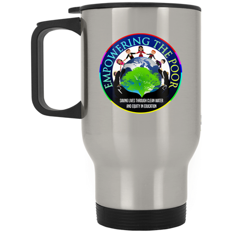 Empowering the Poor Silver Stainless Travel Mug Drinkware- Warrior Design Co. | Quality Affordable Branding Solutions