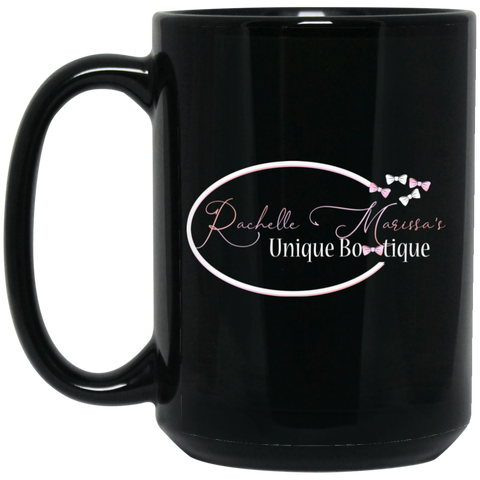 Rachelle Marissa  15 oz. Black Mug Drinkware- Warrior Design Co. | Quality Affordable Branding Solutions