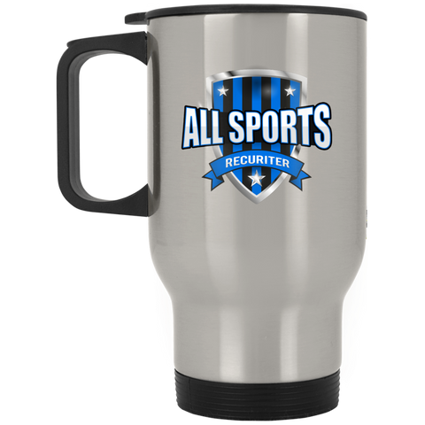All Sports Recruiter  Silver Stainless Travel Mug Drinkware- Warrior Design Co. | Quality Affordable Branding Solutions