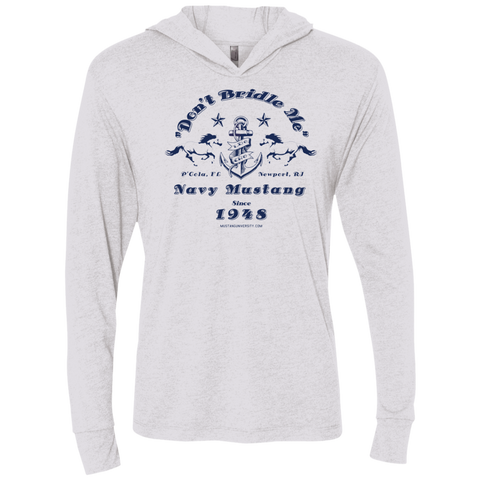Mustang Triblend LS Hooded T-Shirt T-Shirts- Warrior Design Co. | Quality Affordable Branding Solutions