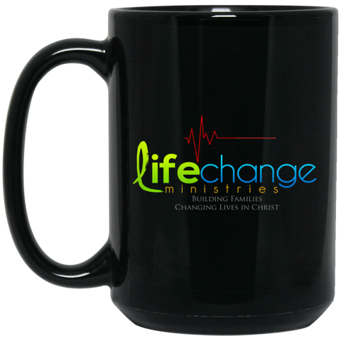 Life Change 15 oz. Black Mug Drinkware- Warrior Design Co. | Quality Affordable Branding Solutions