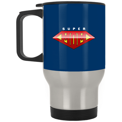 Super Mom Silver Stainless Travel Mug Drinkware- Warrior Design Co. | Quality Affordable Branding Solutions