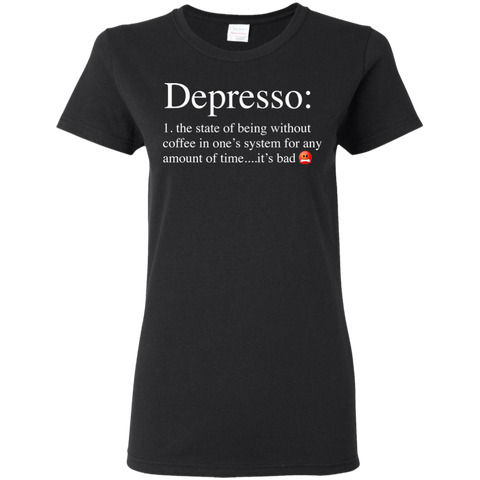Depresso Women's T-Shirt T-Shirts- Warrior Design Co. | Quality Affordable Branding Solutions