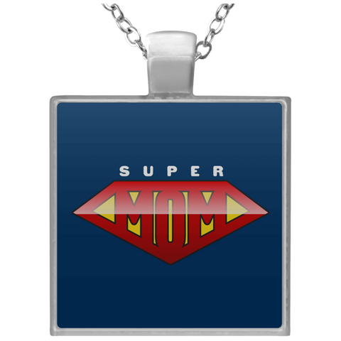 Super Mom Square Necklace Jewelry- Warrior Design Co. | Quality Affordable Branding Solutions