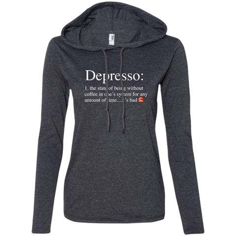 Depresso Women's LS T-Shirt Hoodie - Warrior Design Co. | Quality Affordable Branding Solutions