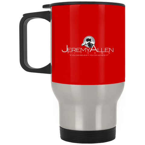 Jeremy Allen Silver Stainless Travel Mug Drinkware- Warrior Design Co. | Quality Affordable Branding Solutions