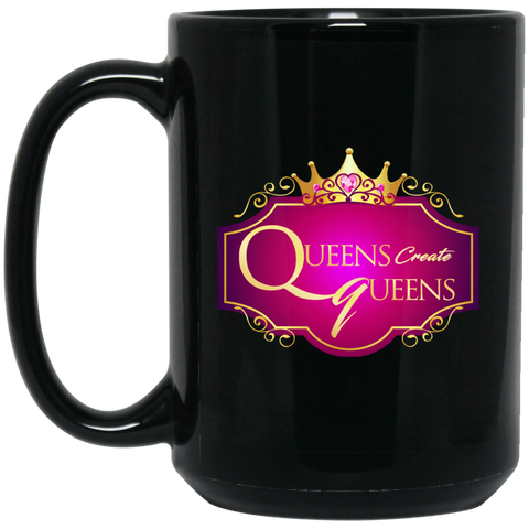 Queens Create Queens 15 oz. Black Mug - Warrior Design Co. | Quality Affordable Branding Solutions