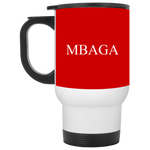 MBAGA White Travel Mug Drinkware- Warrior Design Co. | Quality Affordable Branding Solutions