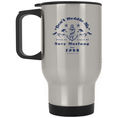 Mustang Silver Stainless Travel Mug Drinkware- Warrior Design Co. | Quality Affordable Branding Solutions