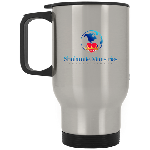 Shulamite Silver Stainless Travel Mug Drinkware- Warrior Design Co. | Quality Affordable Branding Solutions