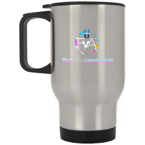 Flow Your Awesome Silver Stainless Travel Mug Drinkware- Warrior Design Co. | Quality Affordable Branding Solutions