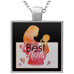 World's Best Mom Square Necklace Jewelry- Warrior Design Co. | Quality Affordable Branding Solutions