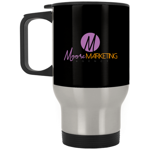 MM Silver Stainless Travel Mug Drinkware- Warrior Design Co. | Quality Affordable Branding Solutions