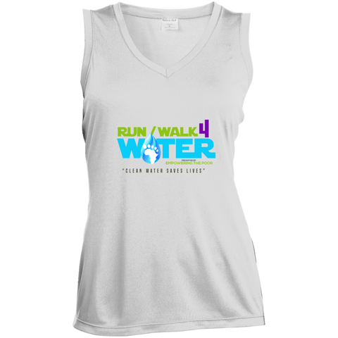 Run/Walk 4 Water Ladies' Sleeveless Moisture Absorbing V-Neck T-Shirts- Warrior Design Co. | Quality Affordable Branding Solutions