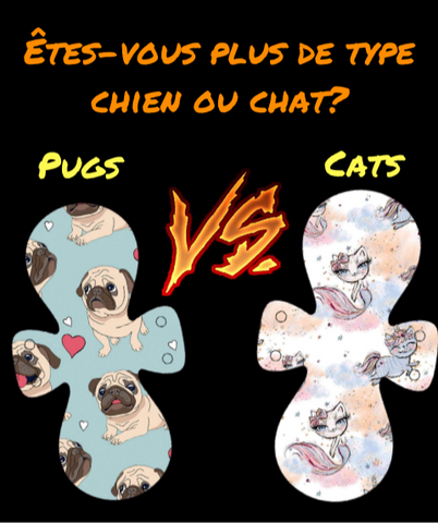 Serviette Hygiénique Lavable - Pugs VS Cats