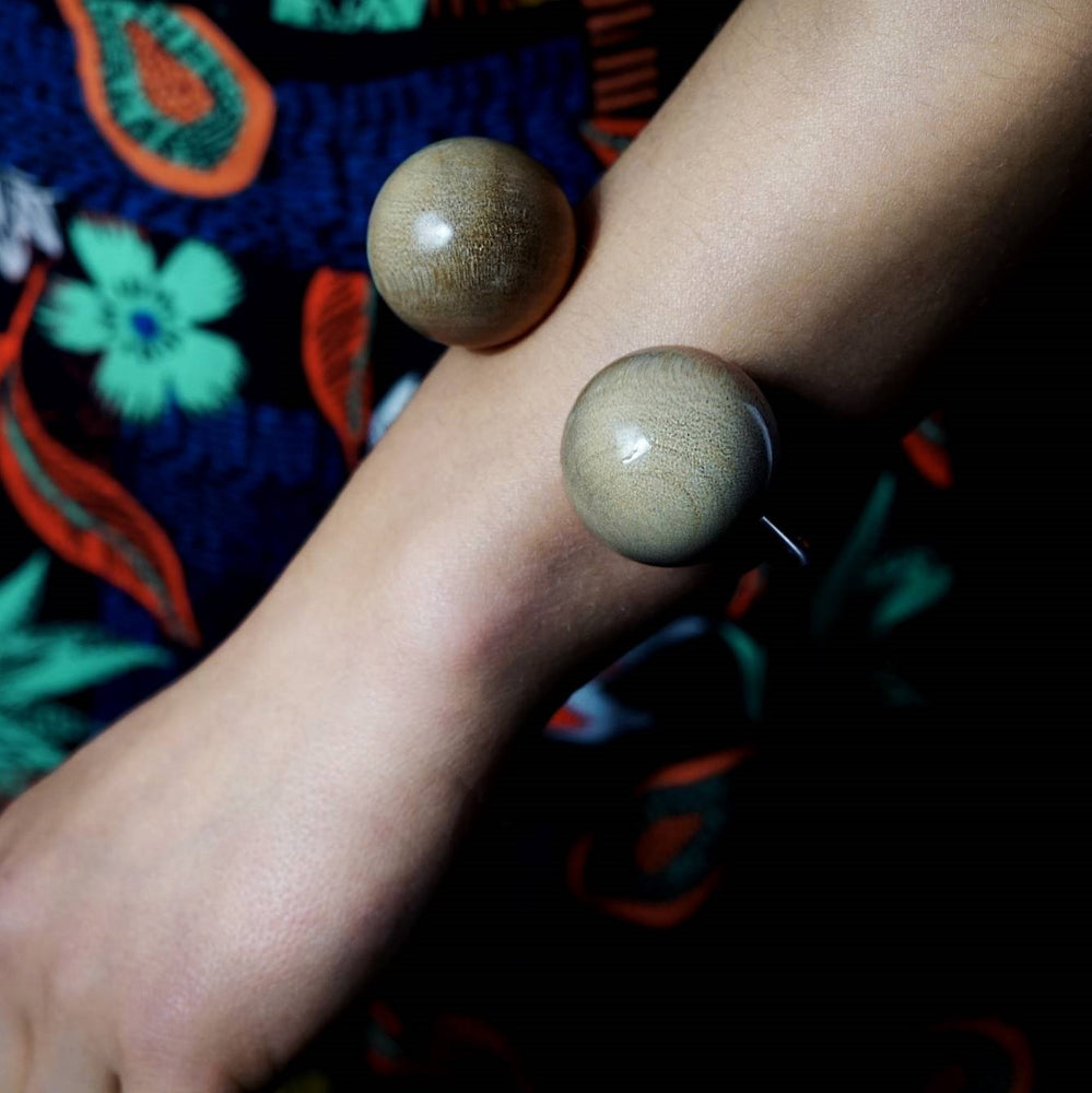Giant Double Wooden Spheres and Classic Silver Torque Bangle
