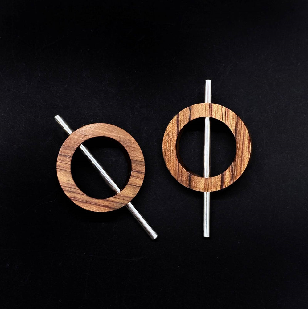 Small Wood Circle and Silver Tube Earrings
